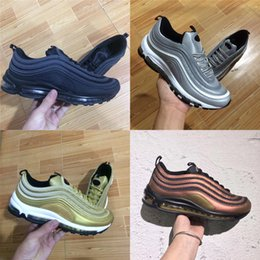 Wholesale Product Canvas - New Products 97 OG Tripel White Metallic Gold Silver Bullet 97 White 3M Premium Running Shoes with Box
