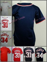 Wholesale Baseball Jerseys Washington - Washington Youth Jerseys #31 Max Scherzer #34 Bryce Harper Blank Blue Red White Gray 2015 New Kids Jerseys Top Quality