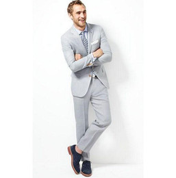 Wholesale Men S Clothing Discounts - Wholesale-Custom two grain of buckle peak led light grey suit of the groom dress discount wholesale groom dress men's clothing
