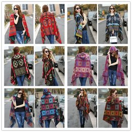 Wholesale Thick Scarves For Women - Fashion Ladies bohemian scarves oversized scarf Lady thick Hooded Cape Bohemian shawls scarves for women wool spinning Hooded scarf LA151-6