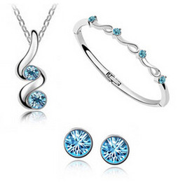 Wholesale Crystal Bangles Wholesale Swarovski - Made with Swarovski elements Top selling Asustrian crystal jewelry sets Necklaces bangles Earrings Free shipping