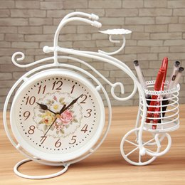Wholesale Wrought Iron Garden Decorations - Office table clocks with pen box wrought iron single face 16cm garden style home decoration 1pc lot
