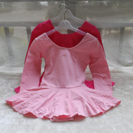 Wholesale Long Dance Skirts For Girls - Long Sleeve Cotton Ballet Dance Dress Fitness Gymnastics Skirt For Kid Girls HF-0006 Fast and Free Shipping