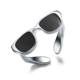 Wholesale Real Silver Finger Ring - Real 925 Sterling Silver Ring For Women Men Jewelry Cute Black Sunglasses Enamel Ring Silver 925 Jewelry Sporty Tail Finger Ring