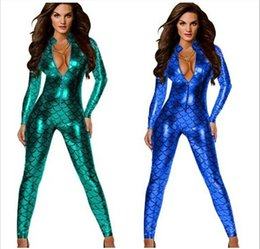 Wholesale Women Red Jumpsuits - New Fish Scales Sexy Bodycon Jumpsuit Women Mermaid DS Costumes With Zipper 4 Colors hight quality free shipping