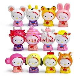 Wholesale Toy Cats For Sale - Sale 12pcs set Mini Hello Kitty Action Figure Chinese Zodiac Hello Kitty PVC Action Figures Toys Kitty Cat Toy for Festive Supplies