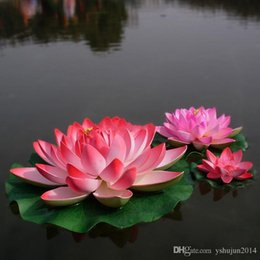 acqua fluttuante artificiale di loto Sconti Bello fiore artificiale del loto che fa galleggiare i fiori dell'acqua per l'ornamento di Natale Forniture della decorazione della festa nuziale diametro di 18 cm