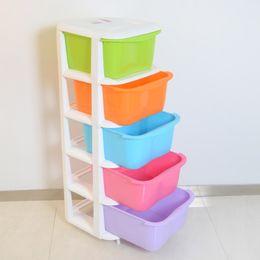 Armário de roupas plásticas on-line-Cinco gavetas armários armários de armazenamento de plástico, armário do quarto das crianças doces coloridos organização da roupa do bebê