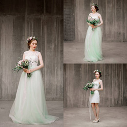 Wholesale Strapless Green Bridal Dress - Three Piece Boho Wedding Dress with Detachable Bolero Mint Green Tulle Skirt Bridal Separates Lace Bohemian Wedding Dresses 2016 Summer