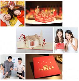 kirigami conçu des cartes pop up Promotion Fait à la main Santa Ride cartes de Noël Creative Kirigami Origami 3D Pop Up carte de voeux avec une conception de maison chaude pour les enfants amis