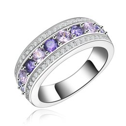 Wholesale Rings Large Stones - purple pink color Crystal large AAA Cubic Zirconia phase White cz diamond Package white gold plated jewelry Woman ring MSR135