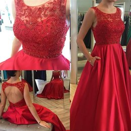 Wholesale Dancing Women Images - 2016 Open Back Red Prom Dresses with Pockets A Line Illusion Neckline Long Satin kaftan Arabic Formal Party Evening Gowns For Dance Women