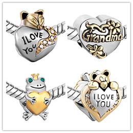 encantos de brillo Rebajas NUEVA Oso Perlas Sueltas joyería DIY ángeles de plata grandes cuentas de abalorios amor de la rana mamá abalorios para la pulsera accesorios del collar de La Joyería