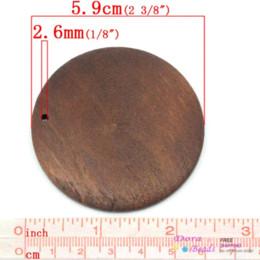 Wholesale Cheap Wood Rounds - Wood Charm Pendants Round Coffee 5.9cm Dia,20PCs (B27929) Pendants Cheap Pendants
