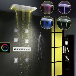 Wholesale Waterfall Faucet Led - Thermostatic Shower Faucet Set Modern Luxury European Style Large Touch Panel LED Shower Head Waterfall Rainfall Bathroom Shower