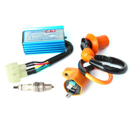 Wholesale Gy6 Engine Cdi - Racing Ignition Coil + for Spark Plug + CDI Box For GY6 50cc-150cc 4-Stroke Engines