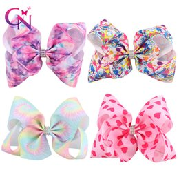 Wholesale Wholesale Print Supplies - 8 Inch Large Hair Bow Hearts Paint Splatter Hair Clip Party Supplies Princess Fairy With Rhinrstone Centre