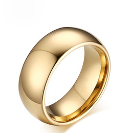 Wholesale Tungsten Mens Rings Sale - Wholesale Hot sale Fashion Tungsten Ring For Men High Quality 8MM Wide Simple Shiny Wedding Bands Gold Plating Mens Gold Rings US Size 6-13