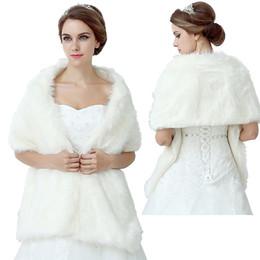 Wholesale Cheap Faux Fur Bolero Jacket - New Free Shipping White Faux Fur Cape Winter Shrug Stole Wrap Wedding Bridal Bridesmaid Wrap Shawl Bolero Jacket Coat Bridal Accessory Cheap