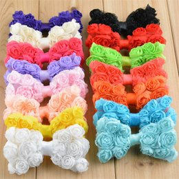 Wholesale Shabby Accessories - 20pcs  Lot 15 Color U Pick 3 .15 Inch Petite Shabby Chiffon Headbands Rose Flower Bows Boutique Hair Accessories Diy Supplies Bow02