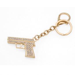 Wholesale Bag For Pistol - Linnor Unique Chic Mini Gun Keychain Keyholder Minigun Pistol Key Chain Rings HandBag Purse Bag Buckle for Car Women CS Llavero