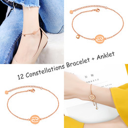 Wholesale stainless steel ankle cuffs - 12 Constellations Hollow Heart Cuff Bracelet + Ankle Anklet Set Girls Rose Gold Stainless Steel Barefoot Sandals Chain Fashion Accessories