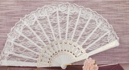 Wholesale white lace hand fans - Vintage Handmade white lace full wedding hand Fan 23*47cm bridal accessories high quality To dance with a fan