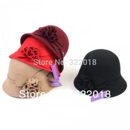 Wholesale Ladies Felt Beanie Caps - Wholesale-Wholesale Mix 2015 Trendy Women FlowerWinter Wool Hats Lady Fleece Bucket Hat Cloche Fedora Felt Caps Womens Bowler Autumn Derby