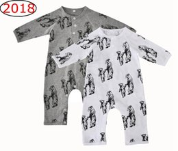 Wholesale Christmas Sleepwear - Ins Bear Full Print Rompers Jumpsuits Newborn Baby boys Sleepwear Long sleeve Cartoon Mother baby Bear Print Cotton Autumn Winter 0-12m