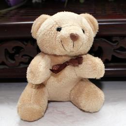 Wholesale teddy pendant chain - Wholesale-Wholesale 20pcs Lot 8cm Mini Plush Teddy Bear Key Chain Small Stuffed Animal Pendant Wedding Gift Metal Key Ring