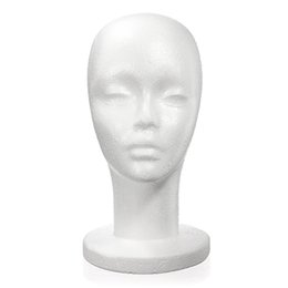 Wholesale Styrofoam Wig - Hotting Styrofoam Foam Manikin Women Head Model Lightweight Wig Hair Glasses Hat Glasses Mannequin Stand Display High Quality