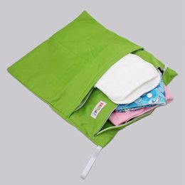 Wholesale Diapers Tpu - 42Pc Fedex UPS 9 Solid Colors AI2 Baby Diaper Wet Bags Mommy Wet Diaper Bags Infant 2 Zippers Pockets Bags Waterproof TPU Diapers