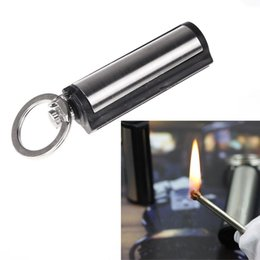 Wholesale Striker Wholesale - Hot Sale! Waterproof Outdoor Camping Metal Permanent Match Striker Lighter with Key Chain Survival Matches Silver