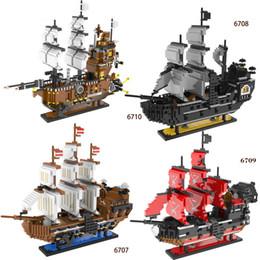 Wholesale Building Blocks Pirate Ship - 3000+pcs Pirates Series The Imperial Flagship Model Building Blocks Set Pirate Ship black pearl for jack Toys For children #6707-6710