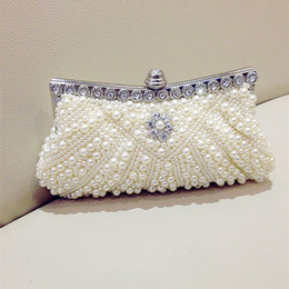 Wholesale Evening Beads Bags - Cheap Pearls Hobos Ivory Bridal Hand Bags 2015 Hot Style Fashion Women Beaded Clutch Bags For Party Evening EN8216