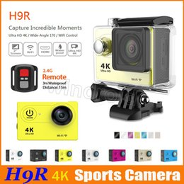 "Wholesale Sports Wide Angle Camera - Ultra HD 4K Video 170 Wide Angle Sports Camera Waterproof 30m 2"" Screen 1080p action Camera H9R H9 + remote control HDMI wifi"