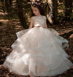 Wholesale girls black fur vest - Lace Long Sleeves Ruched Tulle Flower Girls Dresses Tutu Dress First Communion Dress Custom Made Kids Holy Wedding Gowns