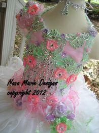 Wholesale Mini Shining Dress - 2014 ! Charming Little Girls Cupcake Glitz Pageant Dresses Shining Rhinestone Flowers Organza pageant dress