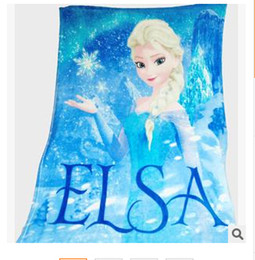 Wholesale Princess Quilts - The Snow Queen Children Blanket Princess Elsa Kids Flannel Blankets Cartoon Printed 100*130cm Xmas gift for baby free shipping