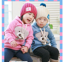 Wholesale Wholesale Childrens Shirts Free Shipping - Wholesale-free shipping ! Winnie bear childrens clothing boy's girl's top shirts Hooded Sweater hoodie coat jacket with bowknot