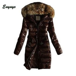 Wholesale Women Coat Collars - Wholesale-2015 New Fashion Long Winter Jacket Coat Women Casual Down Cotton Jackets And Coats Outdoor Fur Collar Hooded Warm Parka CCC402S