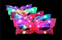 Wholesale Light Up Masquerade Masks - Butterfly LED Flashing Glasses Light Up Rave Toys For Halloween Masquerade Mask Dress Up Christmas Party Decoration Supplies