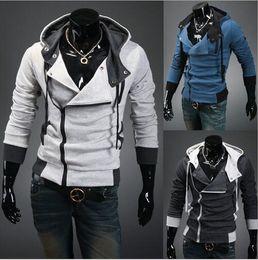 Wholesale Desmond Miles Costume - Hot New Assassin's Creed 3 Desmond Miles Hoodie Top Coat Jacket Cosplay Costume Plus Size Slim Fit Men Hoodie