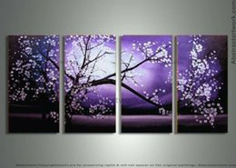 Wholesale Purple Oil Painting Canvas - handpainted 4 piece purple modern decorative oil painting on canvas wall art cherry blossom pictures for home decoration D 158