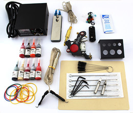 Wholesale Gun Power Supply - new 2015 Beginner tattoo guns kits complete one Pro tattoo machine gun power supply 9color inks grip needles pedal