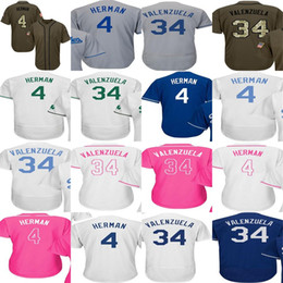 Wholesale Mothers Gold - Male Female Youth Los Angeles 4 Babe Herman 34 Fernando Valenzuela Salute Father Mother Celtic Flex Cool Baseball Jerseys 2017 Postseason WS