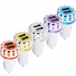 Wholesale Mini Abs Light - Dual USB Ports Led Light Sun Flower Car Charger 5V 2.1A 2 Port Mini Plug ABS Auto Charger Adaptor for Samsung