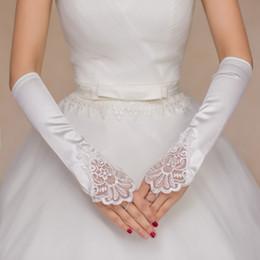 Wholesale Rhinestone Fingerless Gloves - White Lace Bridal Gloves Evening Fingerless Gloves For Wedding New Lace Satin Rhinestone Bride Gloves 2016