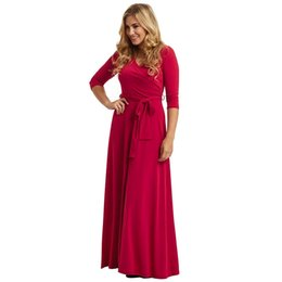 11169cbcb7da Vintage Party Evening Dress Vestidos Pleated Maxi Dresses Sexy V Neck 3 4  Sleeve Female Autumn Large Swing Dress