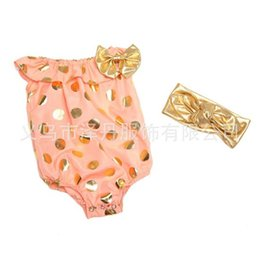 Wholesale Girls One Set Retail - Clearance Retail Girl One-Piece Romper Set 2016 spring summer Golden Dots onesies diaper covers Bodysuits bow Headband 2Set Romper headwrap